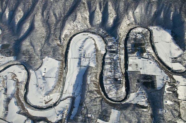 USA- Virginia- Aerial view of the North Fork of the Shenandoah River during a winter freeze