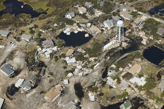 USA- Aerial view of Hurricane Isabel destruction along the Outer Banks of North Carolina near Kitty Hawk