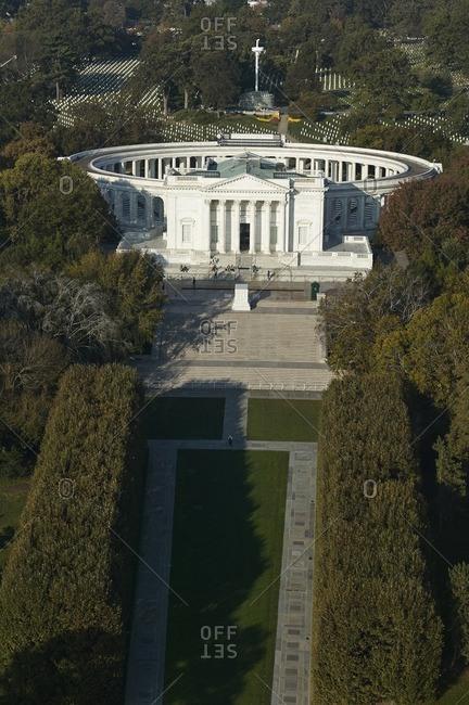 USA- Virginia- Aerial photograph of the amphitheater in Arlington National Cemetery
