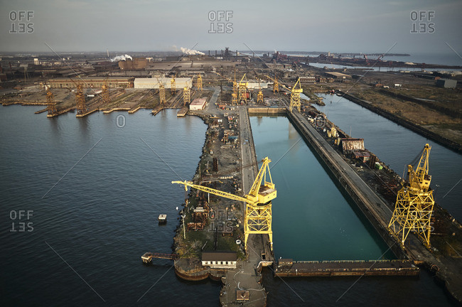 USA- Maryland- Aerial photograph of the old Sparrows Point steel mill and boat works in Baltimore