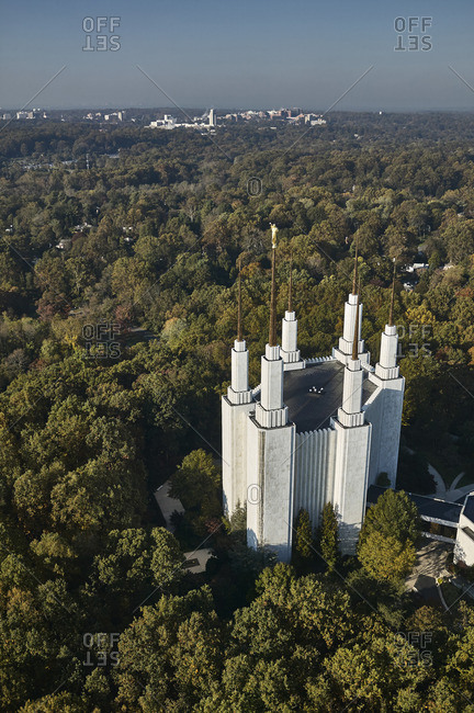 USA- Maryland- Aerial photograph of the Mormon Temple in Kensington