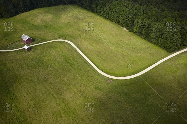 USA- Maryland- Aerial photograph of a curvy road on a farm