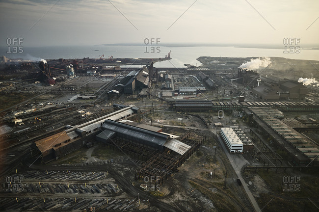 USA- Maryland- Aerial photograph of the old Sparrows Point steel mill in Baltimore