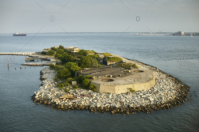 USA- Virginia- Aerial photograph of Fort Wool on Rip Rap Island in the Chesapeake Bay
