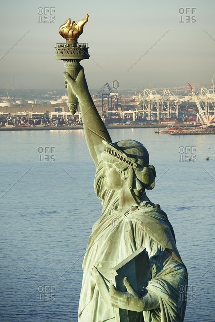 USA- New York State- New York City- View of Statue of Liberty- New York Harbor in the background