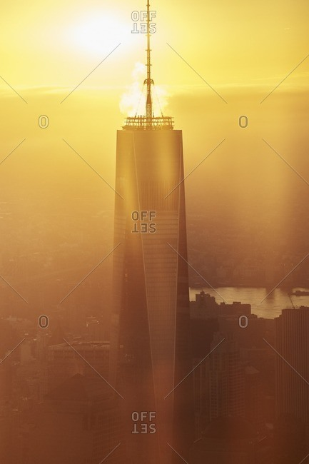 USA, New York - September 23, 2016: World Trade Center and Hudson River at sunrise