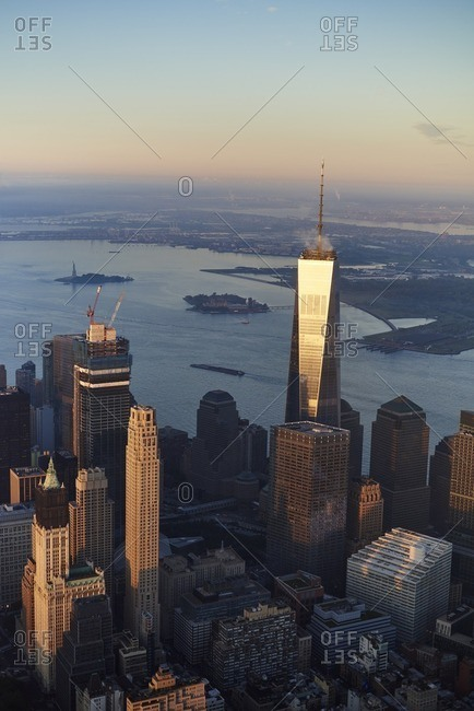 USA- New York- New York City- cityscape with World Trade Center and Hudson River and New York Harbor