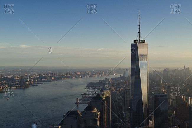USA- New York- New York City- cityscape with World Trade Center and Hudson River