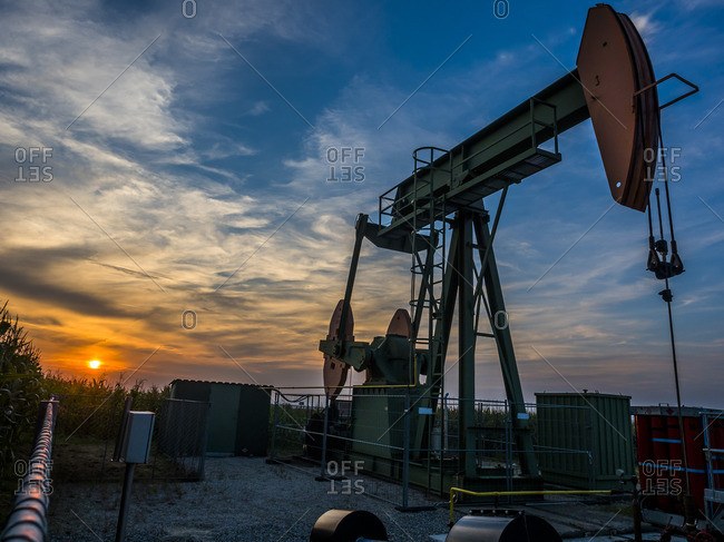 Austria- Voitsdorf- production well- petroleum production at sunset