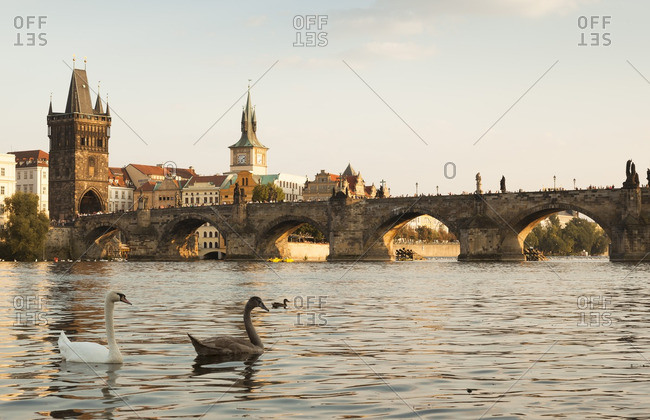 Czech- Prague- view to the historic city with Old Town Bridge Tower and Charles Bridge