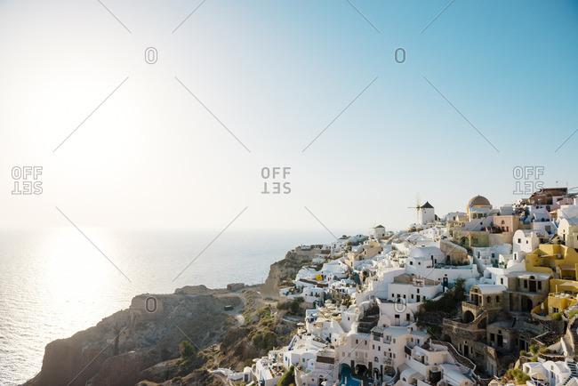 Greece- Santorini- Oia- view to the village at evening twilight