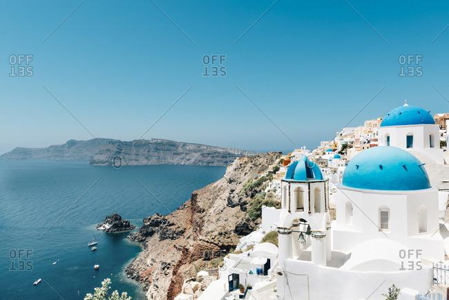 Greece- Santorini- Oia- view to caldera and Greek Orthodox Church
