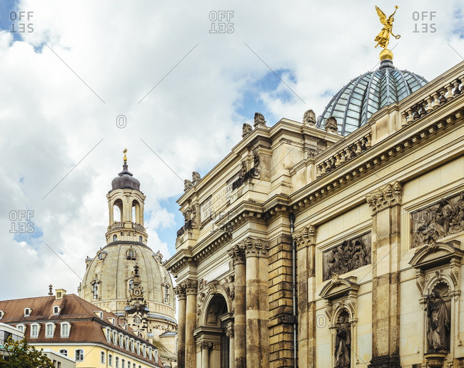 Germany- Dresden- Dresden Frauenkirche and the University of Visual Arts in the foreground