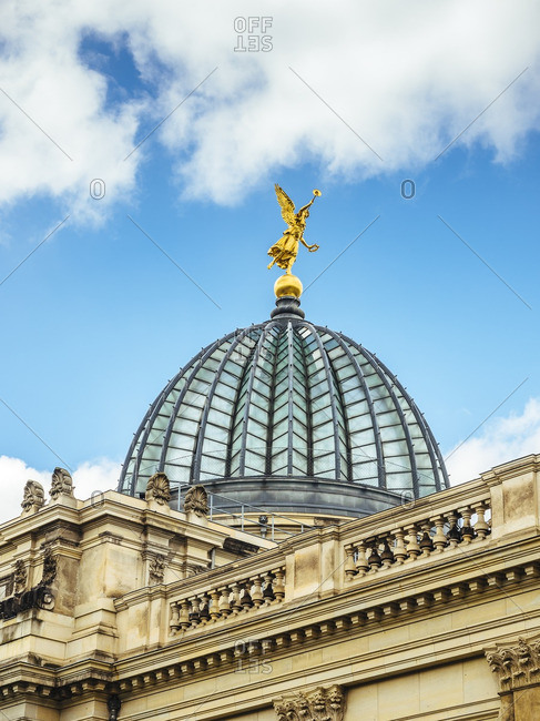 Germany- Dresden- golden angle on cupola of the University of Visual Arts