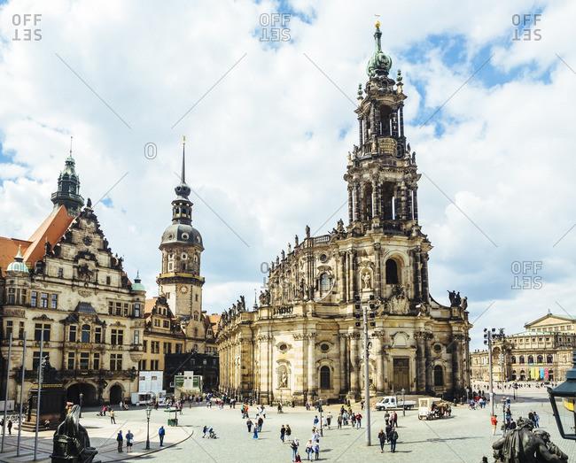 Germany, Dresden - August 11, 2016: Hausmannsturm and Dresden Cathedral at Schlossplatz