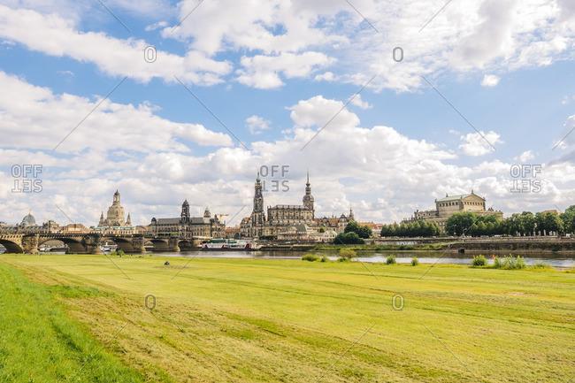Germany- Saxony- Dresden- historic city center at River Elbe- Elbe meadows