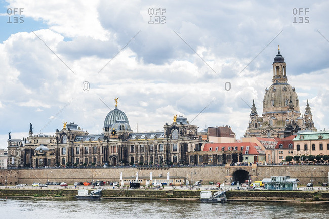 Germany- Dresden- Elbe River with Frauenkirche and academy for visual arts