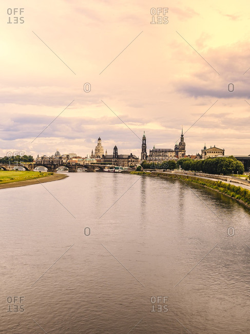 Germany- Saxony- Dresden- historic old town with Elbe River in the foreground