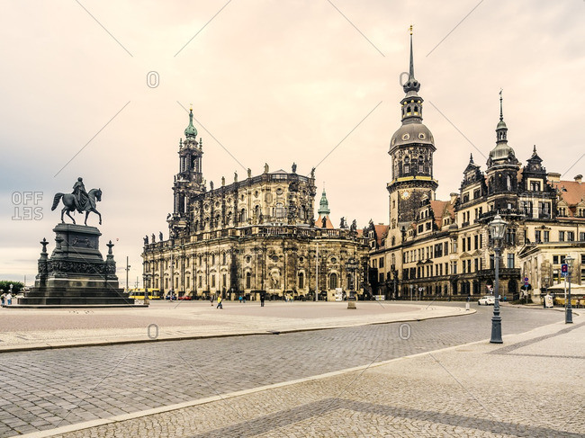 Germany- Saxony- Dresden- Theatre Square with John of Saxony Statue- Dresden Cathedral and Hausmann Tower
