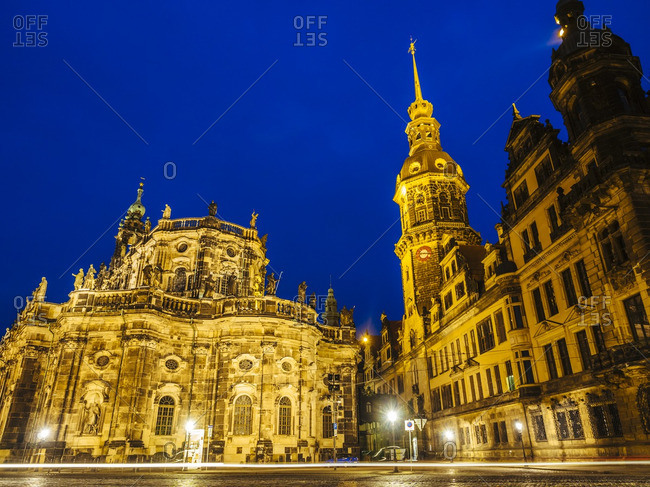 Germany- Saxony- Dresden- Dresden Cathedral and Hausmann Tower in the evening