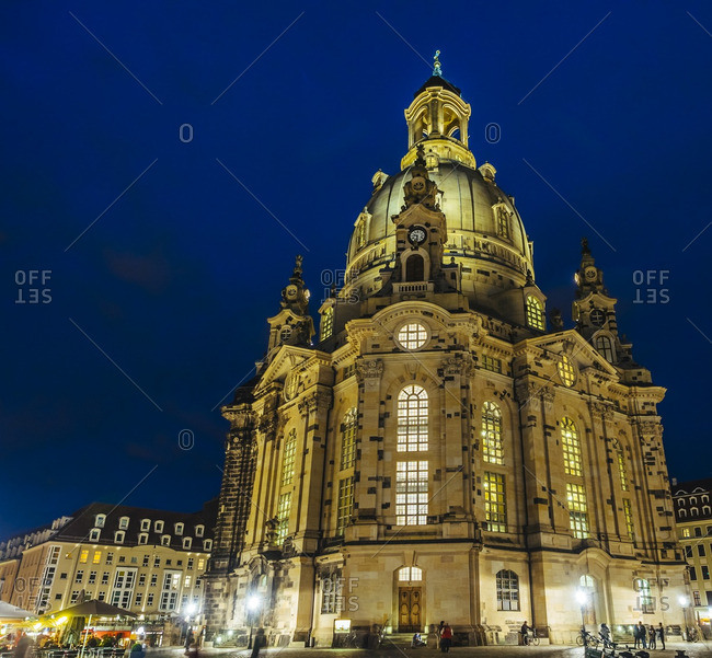 Germany- Saxony- Dresden- Church of Our Lady at night