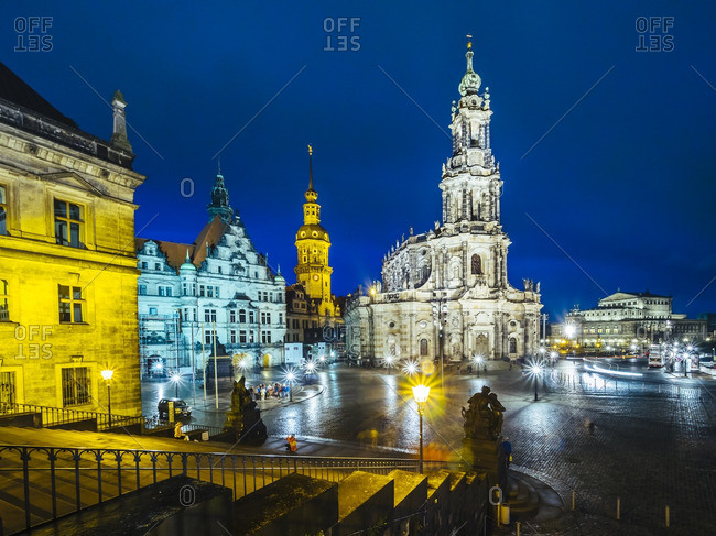 Germany- Saxony- Dresden- Dresden Cathedral- Palace Square at night