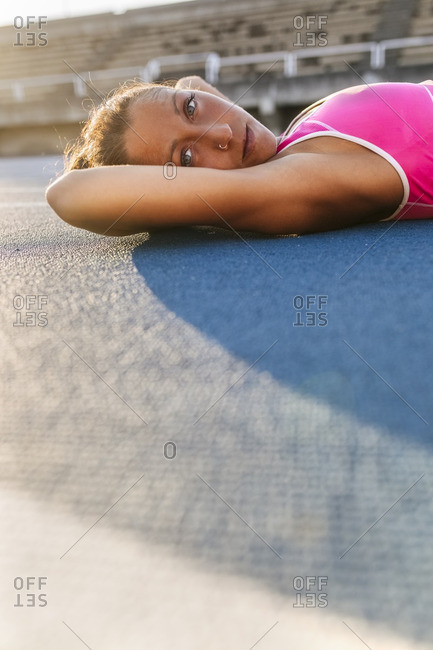 Athlete taking a break after training