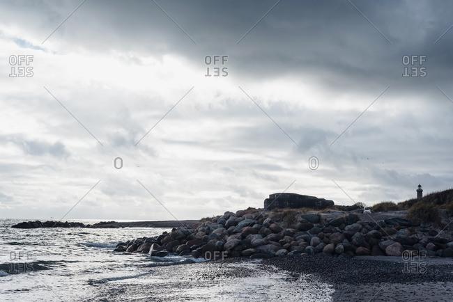Denmark- Skagen- bunker and lighthouse at the beach