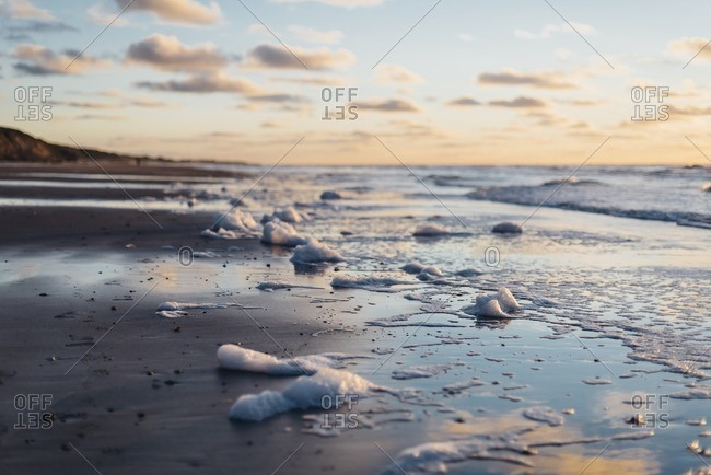 Denmark- North Jutland- tranquil beach at sunset