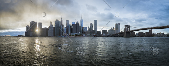USA, New York - October 13, 2016: Skyline at sunset