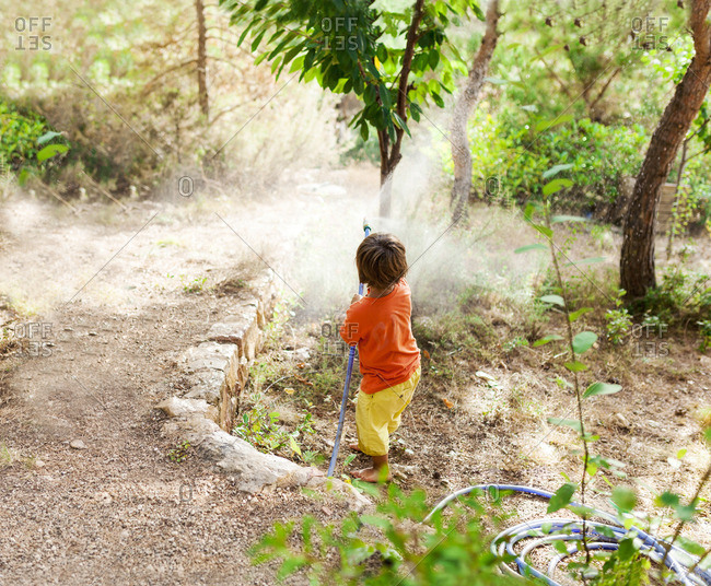 Back view of little boy playing with garden hose