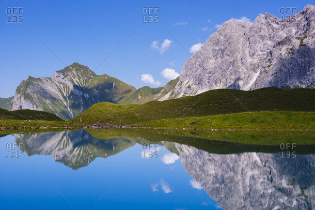 Germany- Bavaria- Allgaeu- Allgaeu Alps- Oy Valley- Lake Eissee- Mountains Himmelhorn- Schneck and Himmeleck- Grosser Wilder right