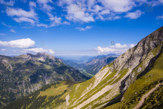 Germany- Bavaria- Stillach Valley seen from Rappensee hut
