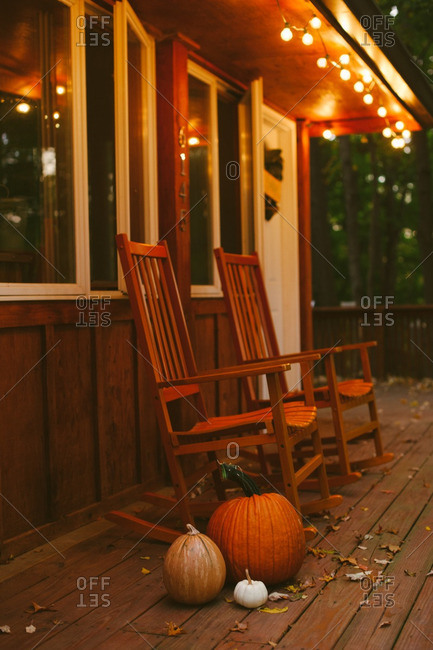Fall decorations on rural porch
