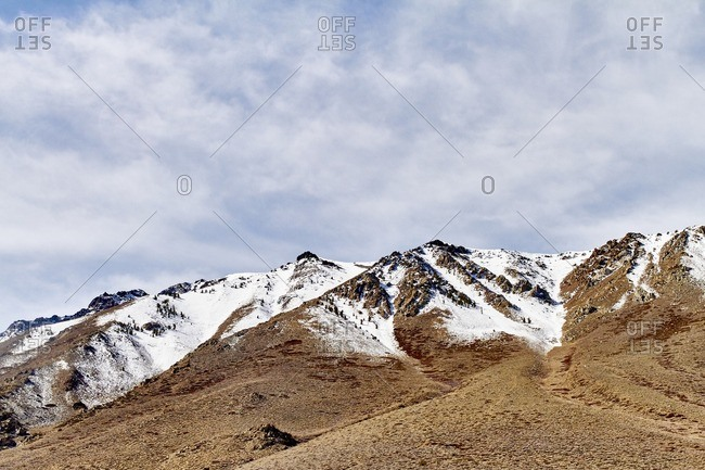 Snowy barren peaks in mountains