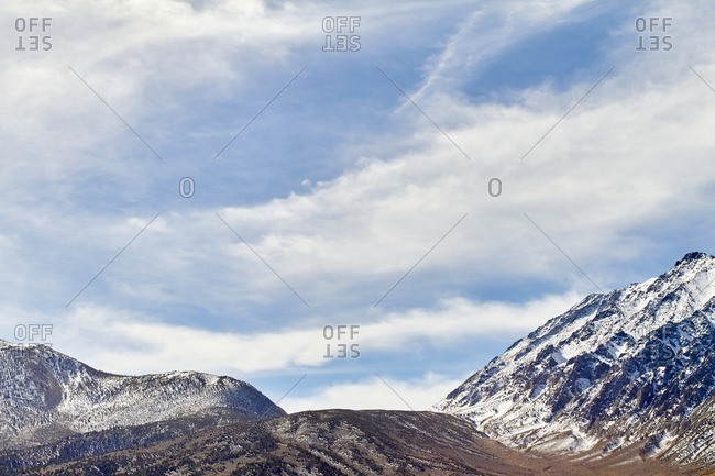 Snowy barren peaks in the mountains