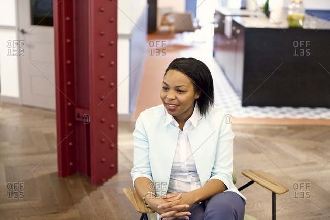 African American businesswoman in office