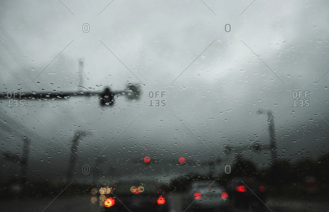 Rain at a stoplight