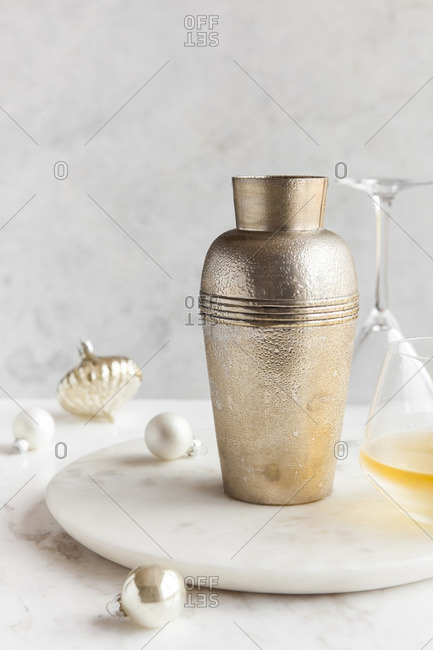 Cocktail with a shaker and ornaments