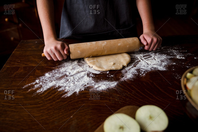 Rolling out dough for pie crust