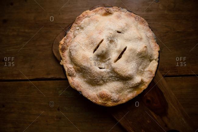 Overhead view of freshly baked apple pie