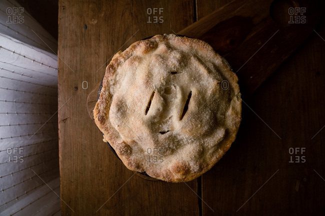 Overhead view of a homemade apple pie