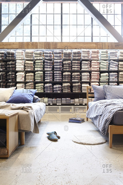 May 26, 2015: Display beds and shelving filled with sheet sets at a store