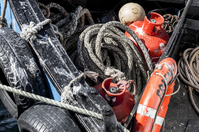 Fishing gear in the back of a boat