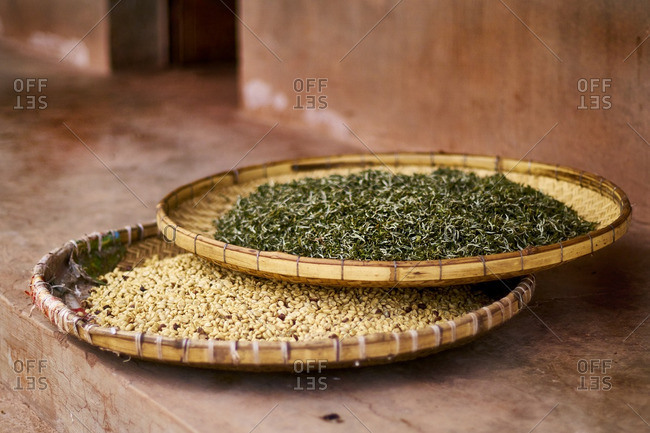 Tea and coffee drying in baskets