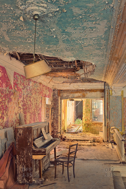 February 23, 2014: Piano in an abandoned hotel