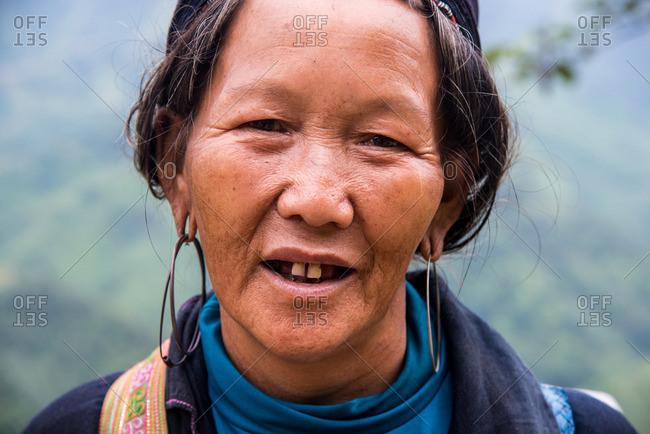 Sapa, Vietnam - August 29, 2016: Portrait of old Hmong woman