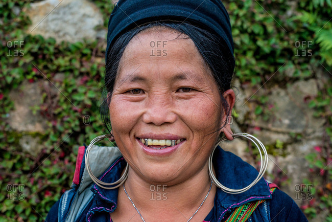 Sapa, Vietnam - August 27, 2016: Smiling old Hmong woman