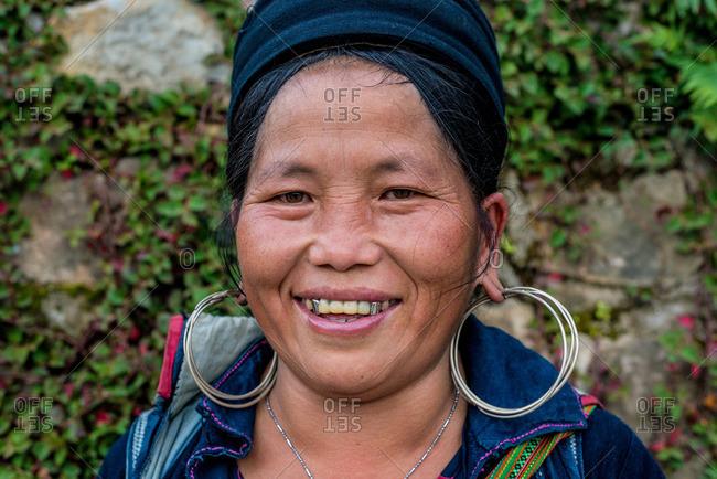 Sapa, Vietnam - August 27, 2016: Smiling old Hmong woman