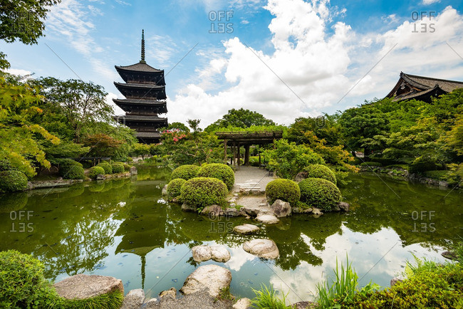 Ponds and gardens at To-ji temple in Kyoto, Japan